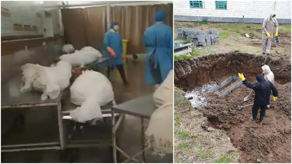 À gauche, une capture d'écran montre au moins 56 corps dans des sacs dans le cimetière de Qom et, à droite, une photo montrant une tombe où auraient été enterrés plusieurs patients ayant succombé au virus.