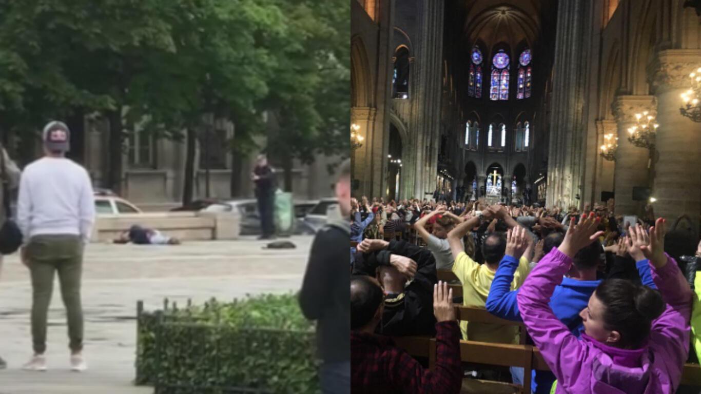 À gauche : un policier pointe une arme à feu vers un homme qui git au sol (photo publiée sur Facebook par Kyle Riches). À droite : l'intérieur de la cathédrale Notre-Dame durant l'intervention policière (photo publiée sur Twitter par Nancy Soderberg).