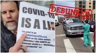 On the left, a man falsely claims that the Covid-19 pandemic is a lie. On the right, a protest against lockdown measures in Colorado, USA.
