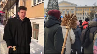 On the left, an Internet user dressed as a judge is having fun conducting mock trials with passersby. On the right, a demonstrator brandishes a golden toilet brush during a protest in Tomsk on January 23, 2021.