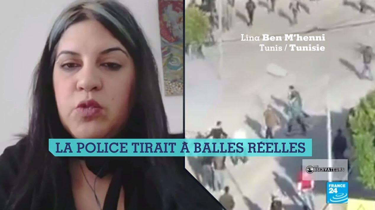 """Capture d'écran de notre émission, avec Lina ben Mhenni commentant les manifestations qui lancèrent le """"printemps arabe""""."""