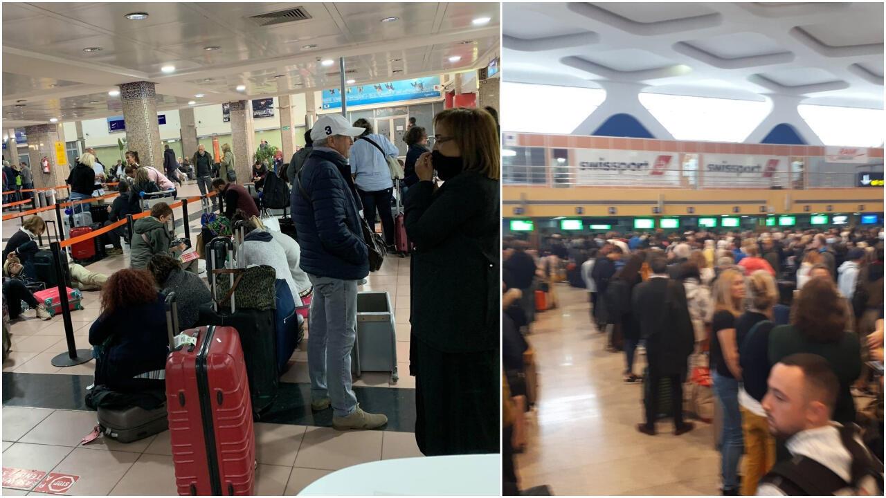 أكثر من 10000 فرنسي لا يزالوا عالقين في عدة مطارات في المغرب. صور لجوناثان توماس.