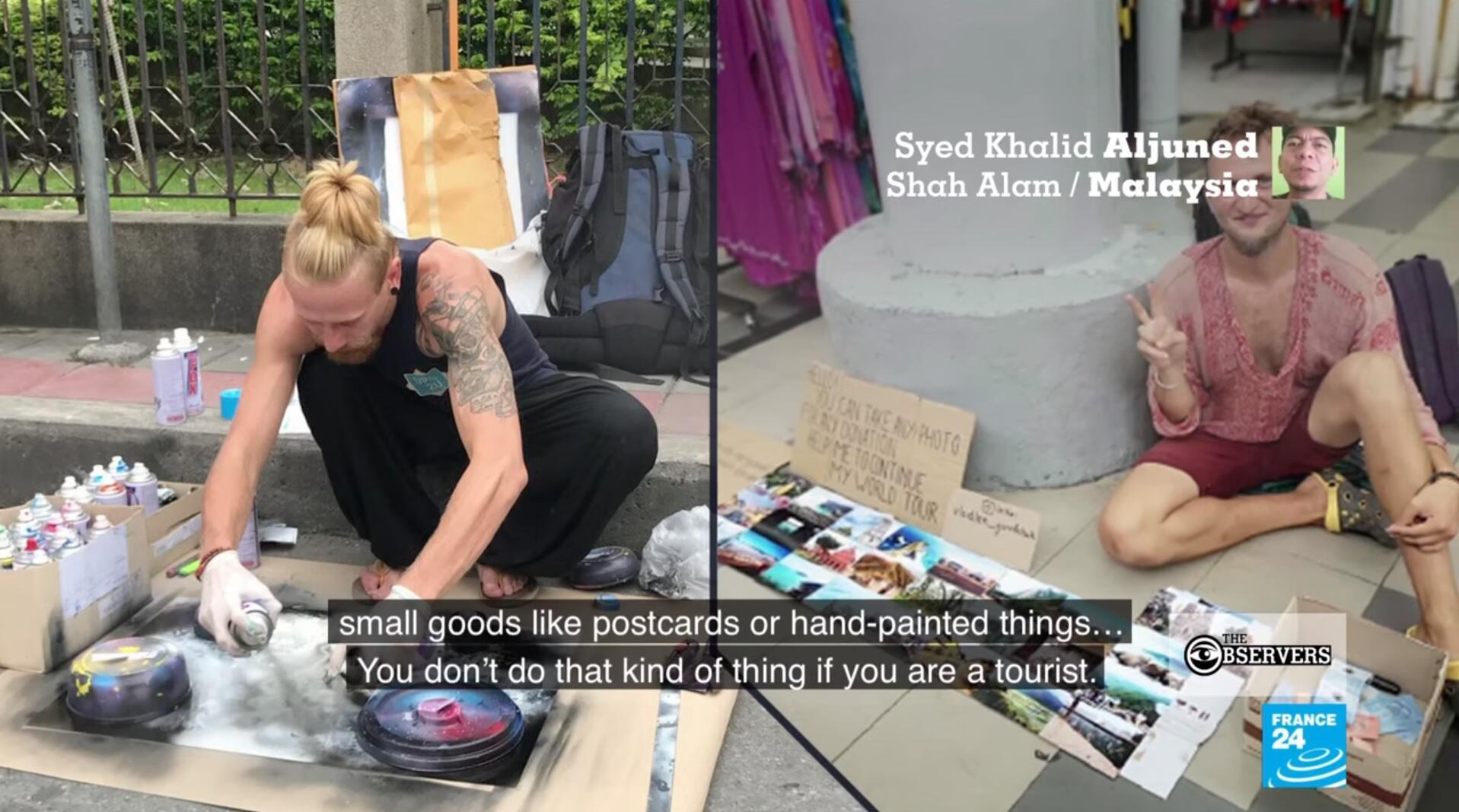 Western tourists in Southeast Asia selling drawings and postcards for small change.