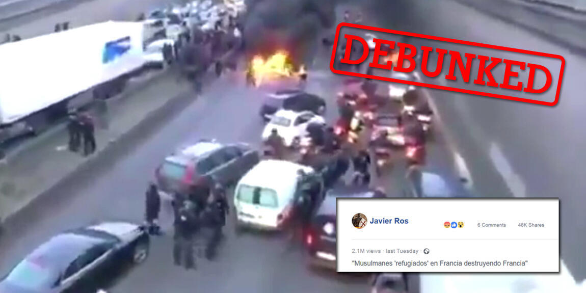 """A video that shows a demonstration taking place in the middle of a motorway was shared online by users claiming that the crowd was made up of """"Muslim migrants"""". But the video doesn't show anything of the sort."""