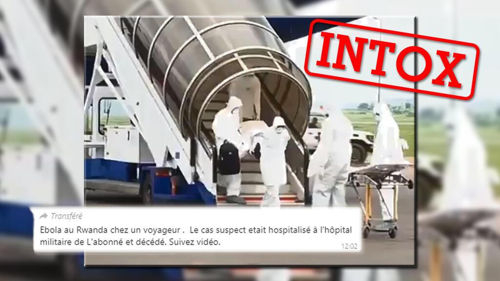 Non, cette vidéo ne montre pas l'arrivée d'un malade d'Ebola à Kigali, au Rwanda, en 2019. Capture d'écran / réseaux sociaux.