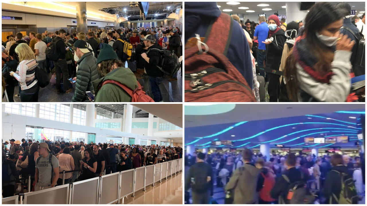 Ce week-end, beaucoup d'internautes se sont indignés de voir les aéroports encore pleins et sans mesure de protection contre le coronavirus. Captures d'écran / réseaux sociaux.