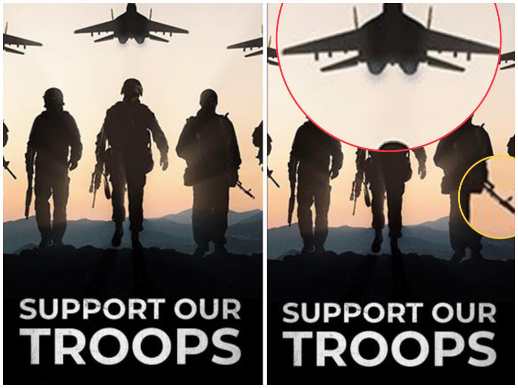 """A recent digital ad from the Trump Make America Great Again Committee telling Americans to """"support our troops"""" uses Russian models dressed as soldiers and a Russian jet. Photo analysis from Wassim Nasr"""