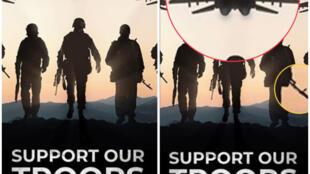 Une affiche publiée par les équipes de campagne de Donald Trump a repris une ancienne image, mettant en scène des modèles russes et un avion conçu par l'URSS.