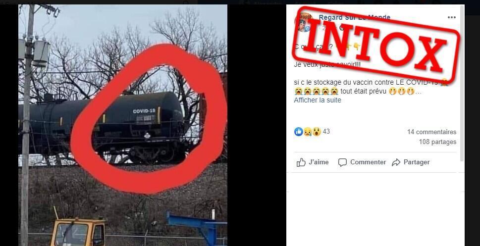 """Des internautes relaient cette photo montrant un train avec l'inscription """"Covid-19"""" pour prétendre qu'il transporterait des vaccins contre le coronavirus. Capture d'écran / réseaux sociaux."""