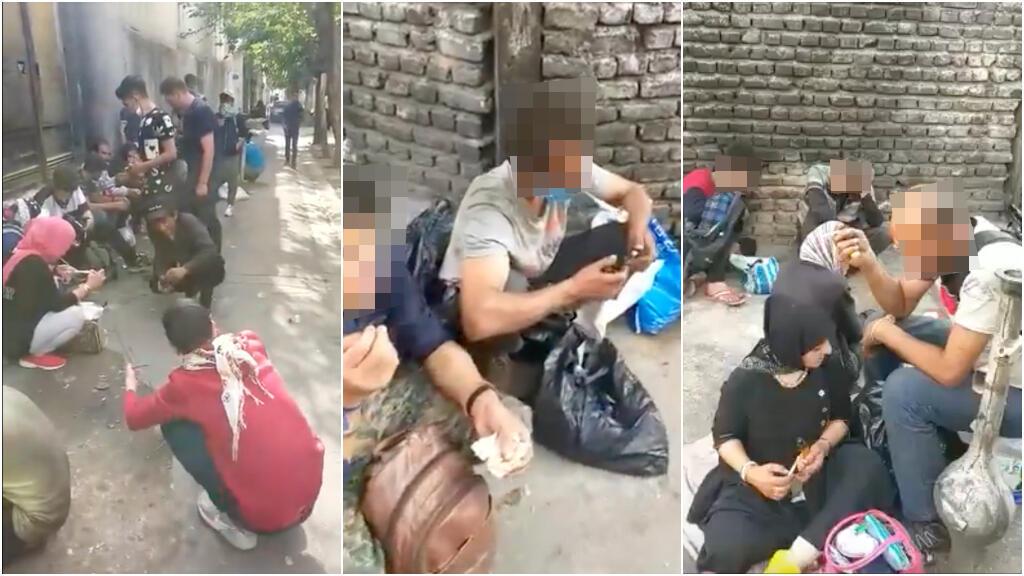 Capture d'écran d'une vidéo publiée le 16 mai et montrant des personnes en train de se droguer dans une rue du sud de la capitale Téhéran.