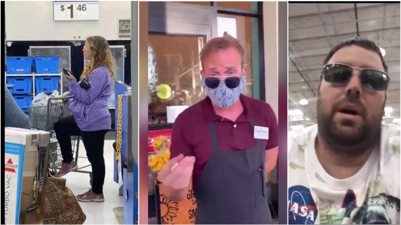 Aux États-Unis, certains clients ont refusé de porter un masque dans les magasins et se sont filmés lors de leurs altercations avec les gérants ou employés.