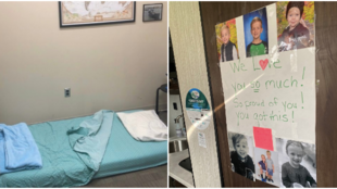 On the left, a makeshift bed for a healthcare worker. On the right, a message left for a doctor who can't be in contact with his family. Photos from Twitter.