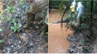 Photos diffusées sur les réseaux sociaux, à la suite de l'incident qui s'est produit sur le site d'Onal de la société pétrolière Maurel & Prom, au Gabon, dans la nuit du 15 au 16 décembre 2017.