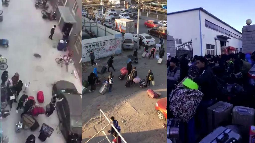 These screengrabs were taken from the videos shared below, which were all filmed in the Daxing suburb of Beijing and posted on Weibo or WeChat last week.