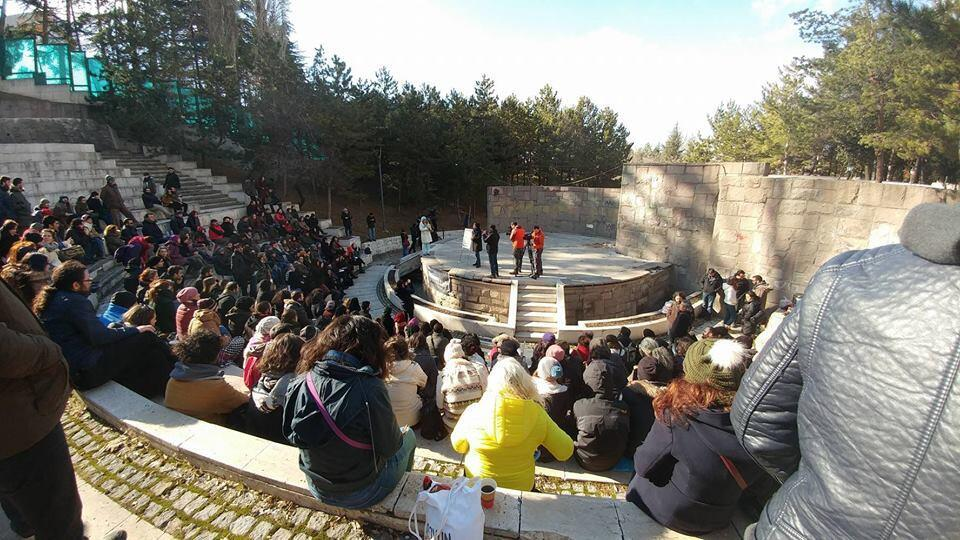 """One of the """"street academy"""" lectures, held in a park in Ankara on February 12, 2017. Photo published on Facebook."""