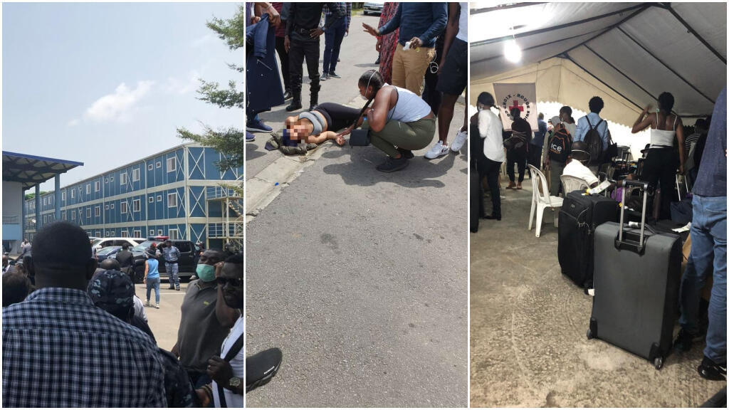 The first photo shows travellers confined on the university campus while the second image shows a teenager suffering from a panic attack. The final photo shows travellers waiting to pick up their passports before being able to go back home. (Photos by our