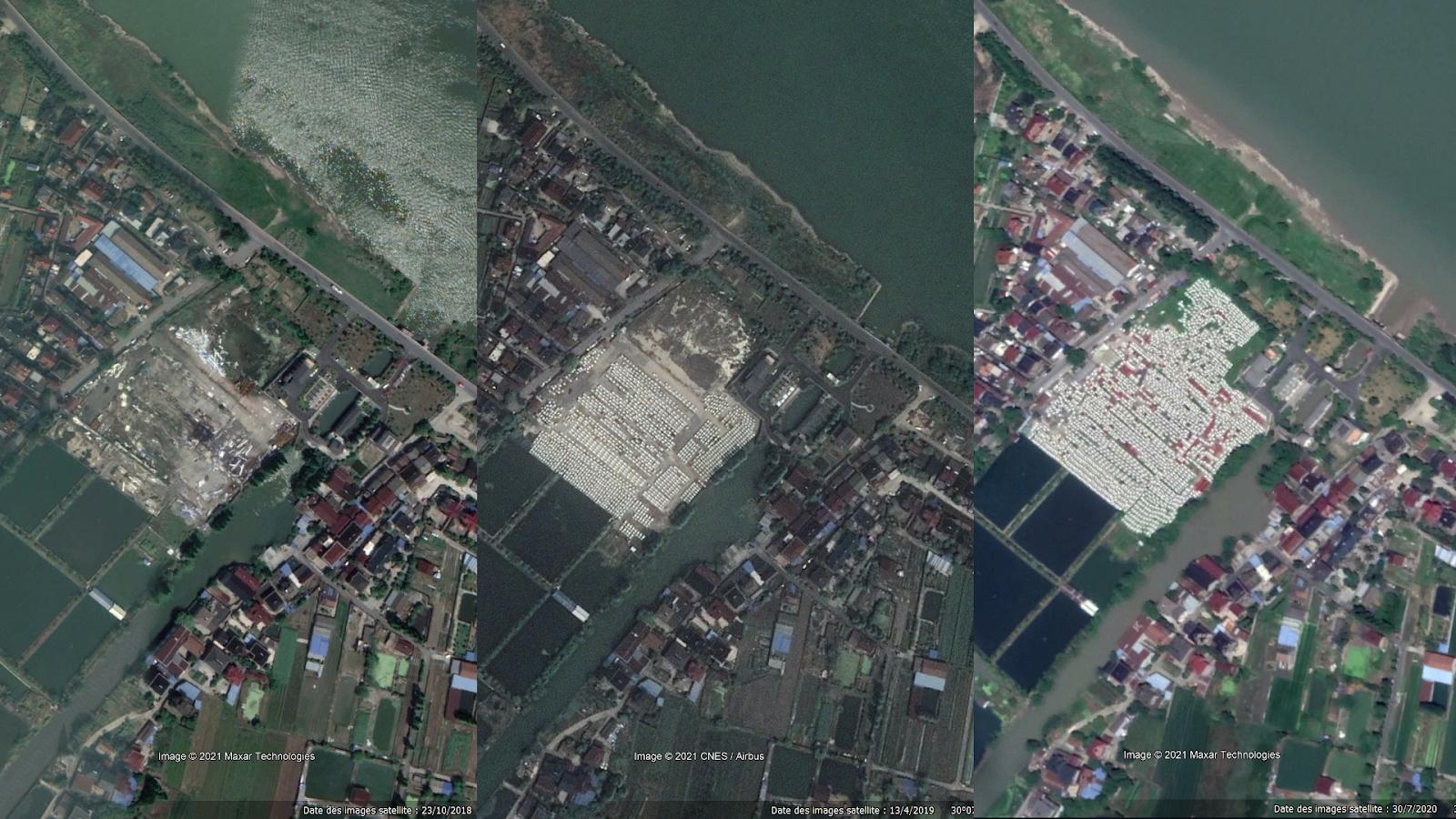 Montage de trois captures d'écran d'images satellites fournies par Google Earth Pro datant, de gauche à droite, du 23 octobre 2018, du 13 avril 2019 et du 2 juillet 2020. Périphérie de Hangzhou, Chine.