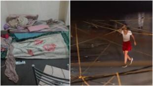 À gauche, une chambre où sont sequestrées des femmes au Koweït et, à droite, une capture d'écran d'une vidéo d'expérimentation sociale sur la culture du viol au Liban.