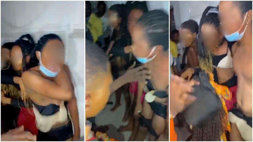 Screenshots of videos showing three transgender women forced to strip