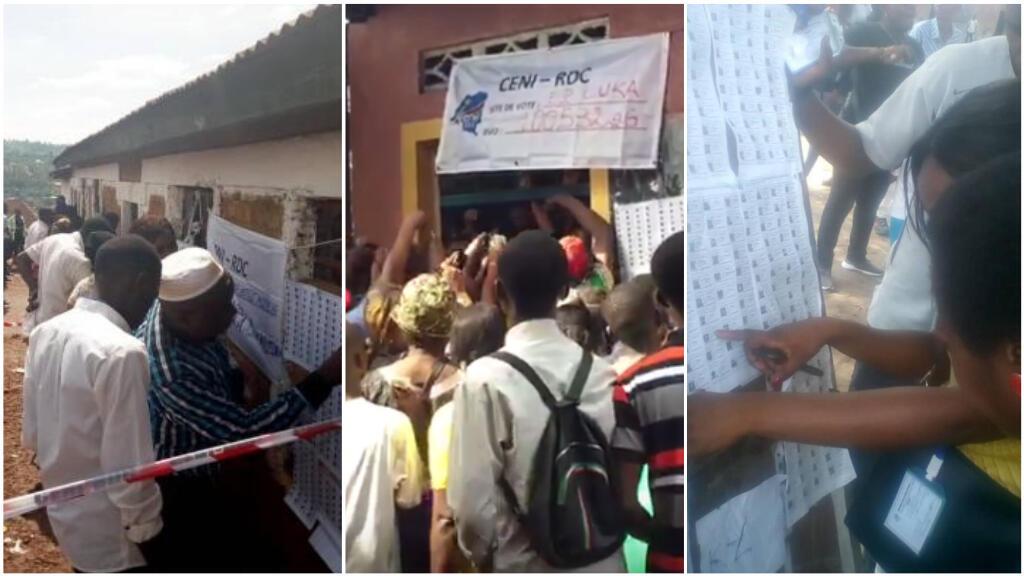 Images prises dans différentes villes de la RD Congo, dimanche 30 décembre, lors de l'élection présidentielle.