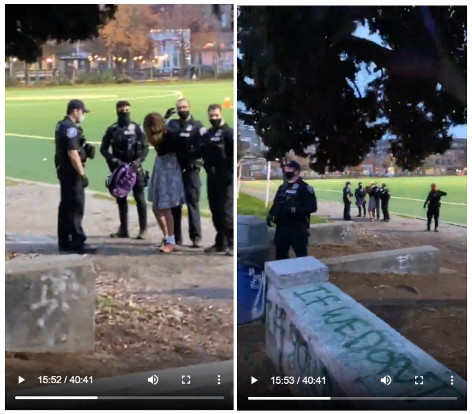 Around 15 minutes after police arrived at Cal Anderson Park, seven individuals were arrested. The first person arrested (seen above) was isolated from others after their arrest.