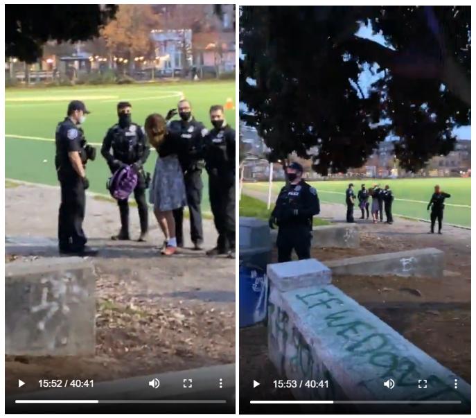Environ 15 minutes après l'arrivée de la police au parc Cal Anderson, sept individus ont été arrêtés. La première personne arrêtée (sur l'image) a été isolée des autres après leur arrestation.