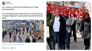 On the left, a tweet about a photo of apparent crowds of people in Bournemouth, UK. On the right, a photo by Philip Davali for Ritzau Scanpix.