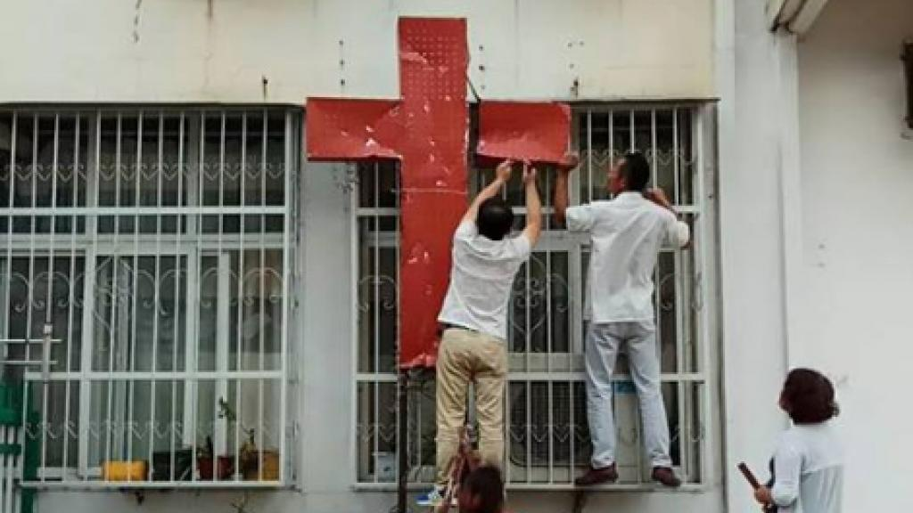 According to members of China's Christian community, this church in Henan, Henan province, was stripped of its crosses and shut down by local authorities on September 6, 2018.