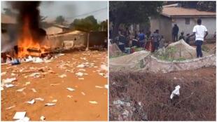 """Du matériel électoral incendié à Koloma, en commune de Ratoma dimanche 22 mars; tensions entre habitants et forces de l'ordre à Wanindara lundi 23 mars. Réseaux sociaux / """"Guinée Morale""""."""
