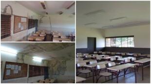Le lycée scientifique de Yamoussoukro avant et après la rénovation. Photos envoyées par notre Observateur.