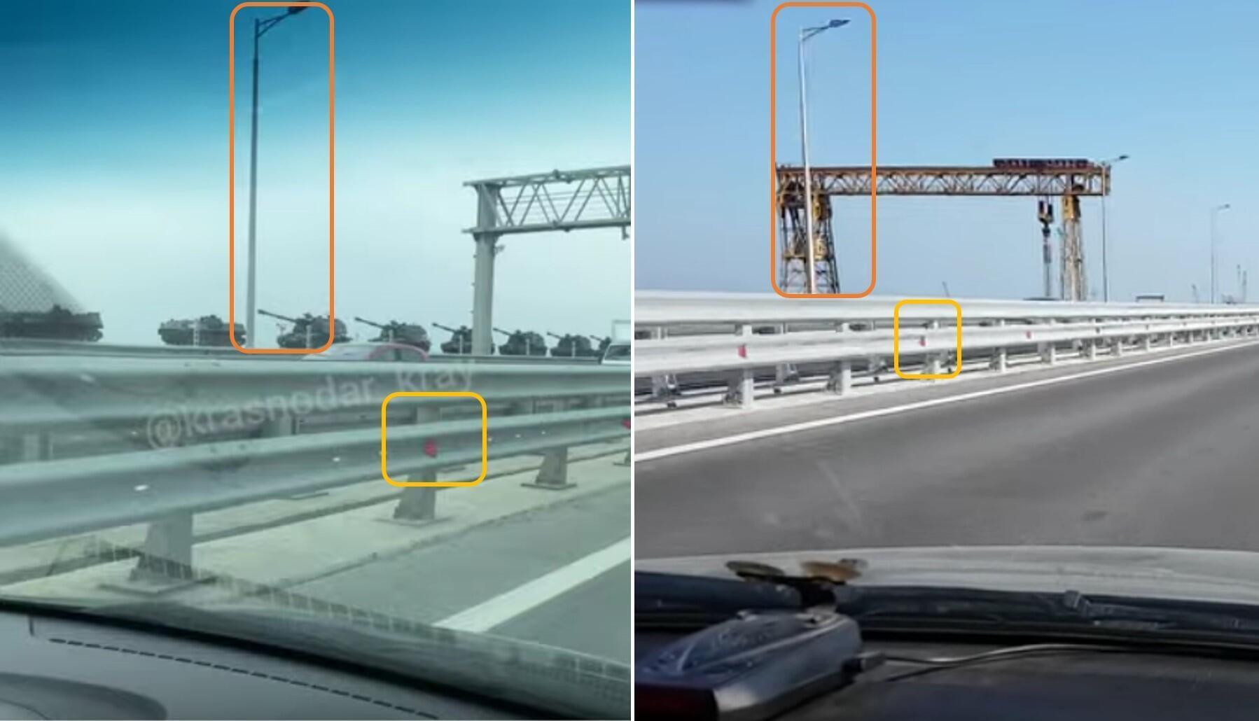 À gauche, on peut voir une capture d'écran de la vidéo montrant un convoi militaire le 29 mars. À droite, une capture d'écran d'une vidéo filmée sur le pont de Crimée.