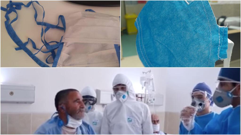 Le personnel médical iranien estime que, contrairement à ce qui est montré à la télévision (bas), ils combattent le Covid-19 sans suffisamment de matériel adéquat, une pénurie qui les met en danger. Images : capture d'écran Telegram