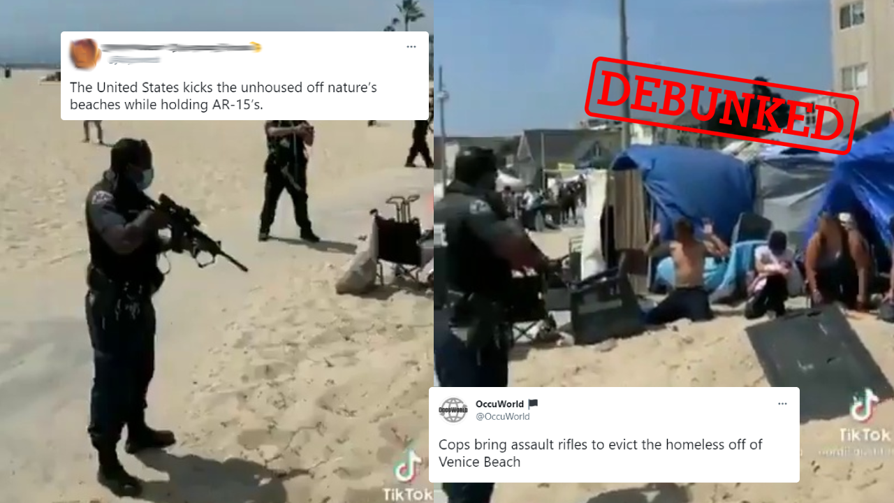 These US police officers are responding to a gun threat, not evicting the homeless