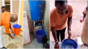 Face au manque d'eau courante, les Nigérians utilisent des seaux dans les espaces publics pour se laver les mains