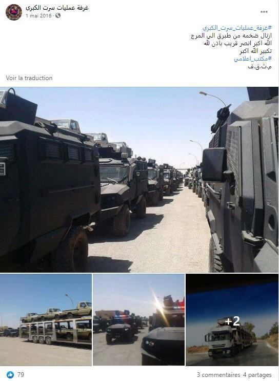 """Un lot de véhicules militaires, dont des Panthera T6, reçu par le camp Haftar dans les villes de Tobrouk et Al-Mârg, selon cette publication Facebook de la page de la """"Salle des opérations du Grand Syrte"""", une division de l'Armée nationale libyenne dans la région de Syrte, datée du 1er mai 2016."""