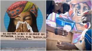 À gauche, un graffiti peint à l'université de Dakar et, à droite, un graffeur donne du gel hydroalcoolique devant une fresque réalisée dans le quartier de Yeumbeul, près de Dakar. Crédit : RBS Crew et Ati Diallo