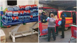 Bouteilles apportées à l'hôpital Infanta Leonor; collecte par des travailleurs d'Alcampo Vaguada (Auchan). Crédits : Twitter / @saarita_glez; @elenalargojuan.
