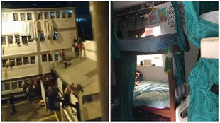 Prisoners attempt to escape from La Modela prison (screengrab) in Colombia. The photo at the right shows our Observer's cell in La Picota prison (photo taken by our Observer).