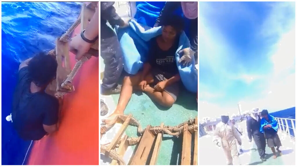 Captures d'écran de la vidéo partagée sur les réseaux sociaux par l'un des membres de l'équipage ayant participé au sauvetage. Crédit : Alilin Cabiguin Lorvin.