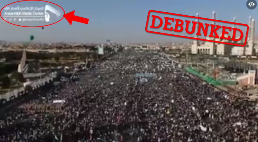 This large gathering wasn't filmed in Istanbul in 2020, but in Sana'a (Yemen) in 2019 to celebrate the birthday of the Prophet Muhammad. Screen capture from Facebook.