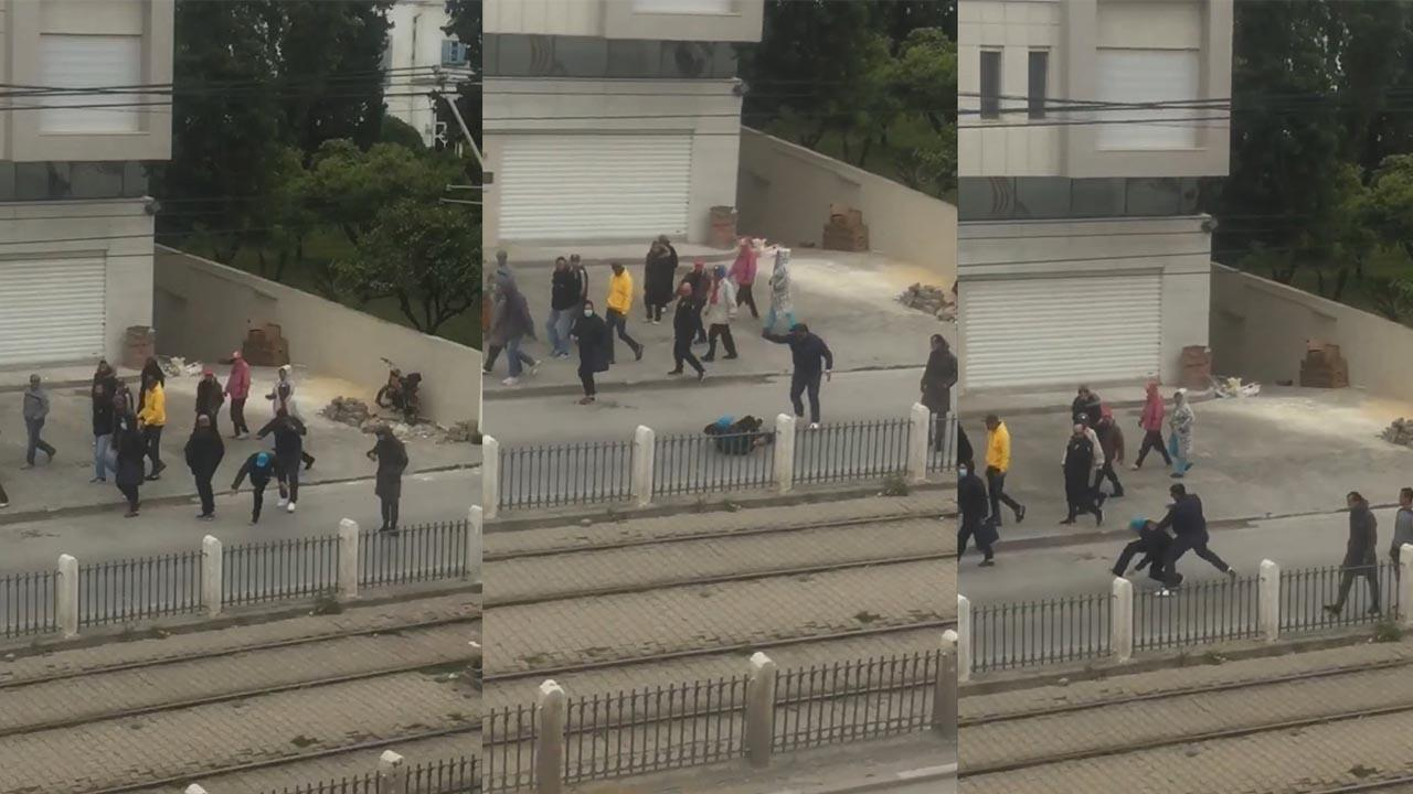 A Tunis, la police fait respecter le confinement en toute brutalité. Captures d'écran d'une vidéo Facebook.