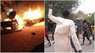À gauche, deux pick-ups pleins d'armes en train d'être incendiés et, à droite, un groupe de jeunes noirs en train de manifester contre l'épisode de violence du mercredi 25 juillet.