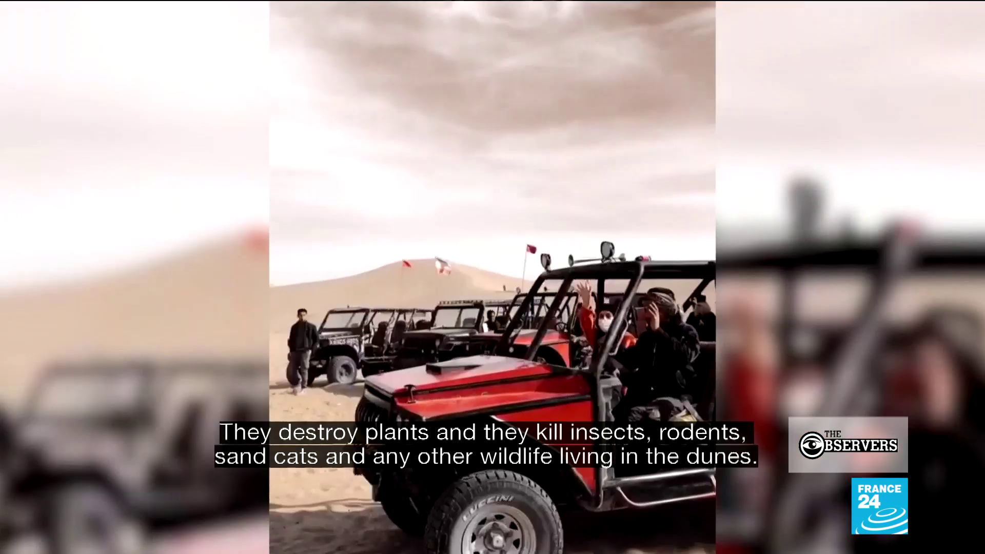 """Desert """"safaris"""", where people entertain themselves by riding around in all-terrain vehicles in the desert, have become increasingly popular in Iran."""