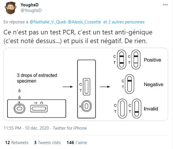 Ce tweet, publié en réponse à la vidéo sur Twitter, affirme que le résultat visible dans la vidéo est négatif.