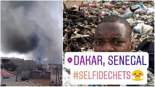 On the left: a screengrab of a video filmed by Moustapha Diallo. At the right, a photo taken by Lamine Toure and labeled '#SelfieDéchets', or '#RubbishSelfie'.