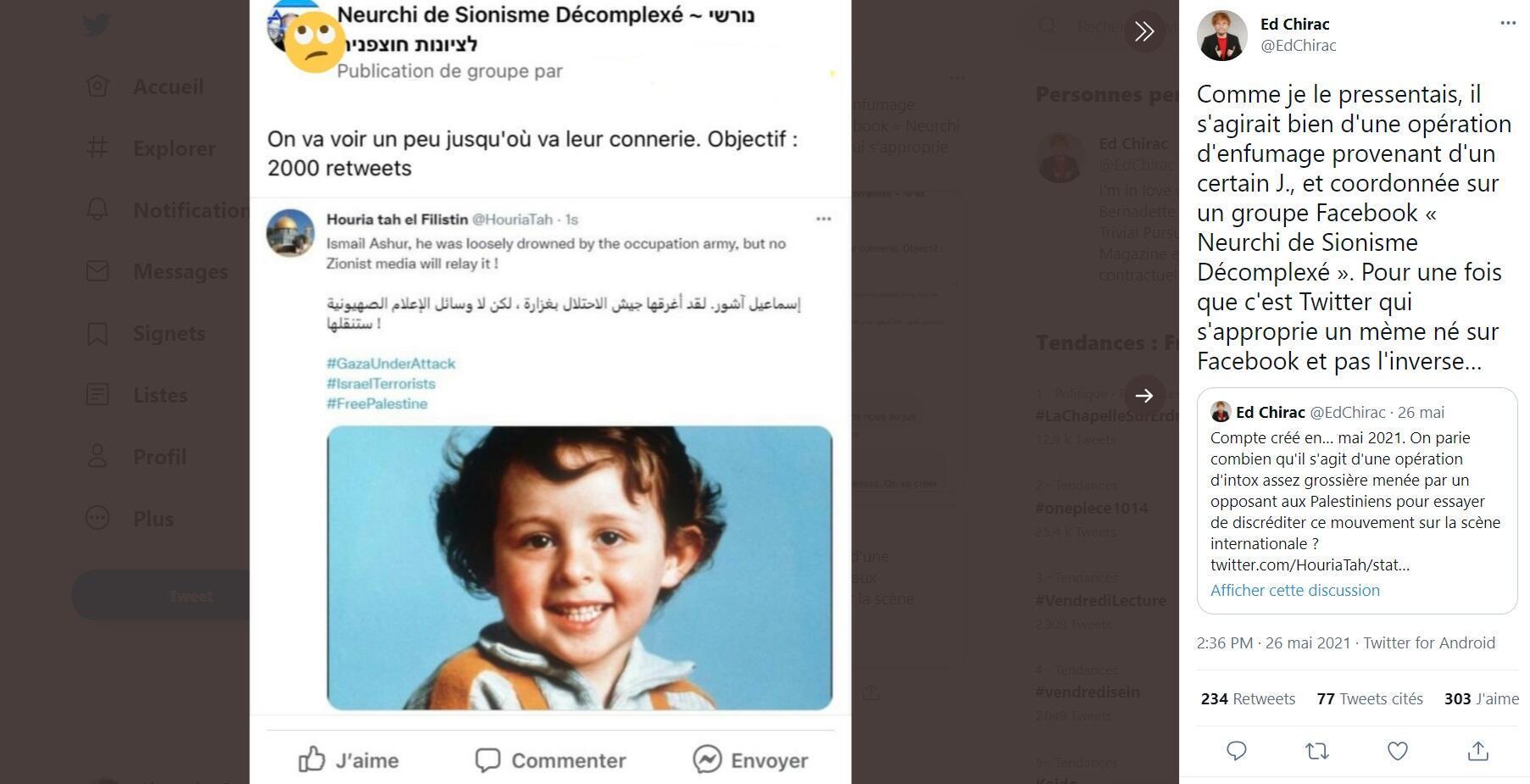 """Capture d'écran du tweet de @EdChirac montrant qu'un internaute du groupe Facebook """"Neurchi de Sionisme Décomplexé"""" demande au groupe de pousser artificiellement ce tweet avec un objectif de 2000 retweets."""