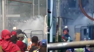 Une enquête du New York Times suggère, images à l'appui, qu'un manifestant pourrait avoir involontairement déclenché le feu en lançant un cocktail molotov. Capture d'écran / New York Times.