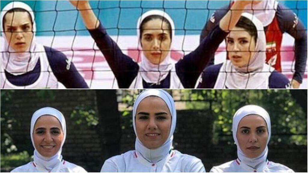 """في إيران وبفضل مواقع التواصل الاجتماعي ابتكرت بعض النساء """"إعلامهن الرياضي"""". في الأعلى، لاعبات من الفريق الوطني الإيراني للكرة الطائرة وفي الأسفل، لاعبات من الفريق الوطني لكرة الصالات أو الفوتسال."""
