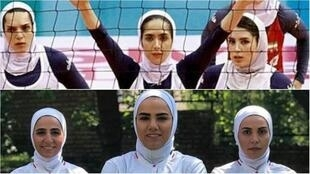 In Iran, fans of women's sports are turning to dedicated social media channels to follow their favorite teams' news. Top photo: members of Iran's national women's volleyball team. Bottom photo: members of Iran's national futsal team.