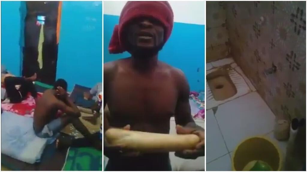 Captures d'écran de la vidéo réalisée par des migrants nigérians en Libye.